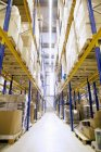 Aisle and shelves with boxes in distribution warehouse — Stock Photo