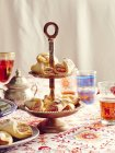 Turkish delight cookies on cake stand — Stock Photo