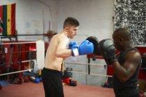 Boxer trainieren mit Trainer im Boxring — Stockfoto