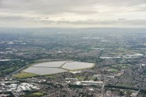 Aerial view of Audenshaw reservoir, Manchester, UK — Stock Photo