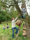 Father and son apple picking with family — Stock Photo