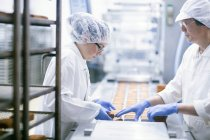 Factory workers on food production line — Stock Photo