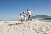 Vista posteriore del padre e dei figli che corrono sulla spiaggia — Foto stock