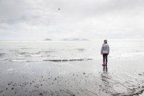 Giovane ragazza, in piedi sulla spiaggia, guardando, vista posteriore, Landeyjahofn, Islanda — Foto stock