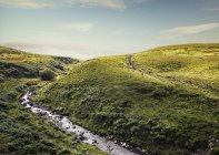 River flowing through green rolling hills — Stock Photo