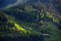 Aerial view of Dzembronya Village, Carpathian Mountains, Ivano-Frankovsk Region, Ukraine — Stock Photo