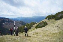 Three hikers, Bucegi Mountains, Transylvania, Romania — Stock Photo