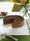 Torta al cioccolato sul piatto di servizio — Foto stock