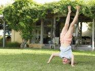 Яка робить headstand в саду — стокове фото
