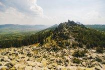 Paisagem rochosa com floresta verde na luz solar — Fotografia de Stock