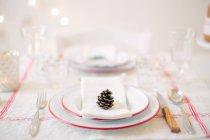 Ajuste de la tabla para dos, vista cercana de las placas con el cono de pino en mesa servida - foto de stock
