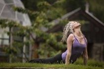 Літні жінки, які практикують йогу вгору собака в eco lodge саду — стокове фото