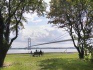 Vista posteriore della famiglia che si siede sulla panchina di ponte sospeso — Foto stock