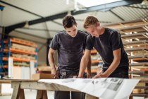 Two young male carpenters working on blueprint in workshop — Stock Photo