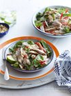 Still life of thai style chicken salad with noodles, chili and lime on table — Stock Photo
