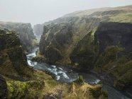 Vista do rio e canyon em Fjadrargljufur, Islândia — Fotografia de Stock