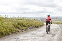 Rear view of cyclist riding on country road — Stock Photo