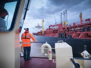 View of tanker as seen from tug — Stock Photo