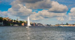 Sailboat sailing in urban harbor, Stockholm, Sweden — Stock Photo