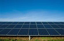 Painéis solares na grama sob o céu azul — Fotografia de Stock