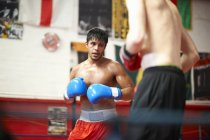 Two boxers sparring in boxing ring — Stock Photo
