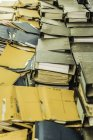 Close up of Pile of Rows of paper files — Stock Photo
