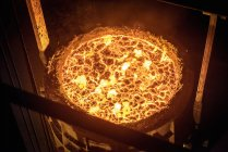 High angle view of molten steel flask in steelworks — Stock Photo