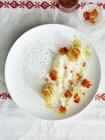 Draufsicht der zarten Nouvelle Cuisine Teller — Stockfoto