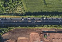 Aerial view of M5 Worcester motorway, Worcester, England, UK — Stock Photo