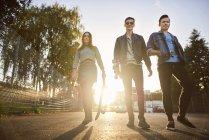 Ritratto di giovane skateboarder donna e amici maschi che camminano sulla strada illuminata dal sole — Foto stock