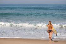 Вид сзади женщины, перевозящих серфинга на пляже — стоковое фото