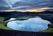 Vista panoramica del Lago di Veidivotn, altopiani d'Islanda — Foto stock