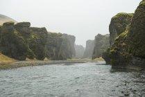 Vista do rio e cânions em Fjadrargljufur, Islândia — Fotografia de Stock