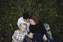 Vista aerea della famiglia sdraiata insieme sull'erba — Foto stock