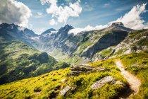 Feldweg auf grasbewachsenen ländlichen Hügel — Stockfoto