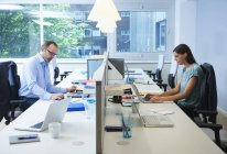 Colleagues working on either side of desk partition — Stock Photo