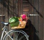 Cestino bici ritagliata contenente lo shopping — Foto stock