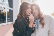 Twin sisters, outdoors, drinking can of soft drink with straws — Stock Photo