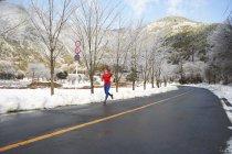 Mâle coureur sur route en hiver, le lac Kawaguchiko, Mont Fuji, Japon — Photo de stock