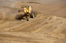 Harvester working on fields — Stock Photo