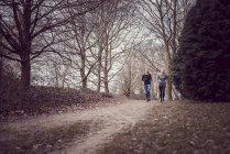 Жінок, біг по грунтовій дорозі lined дерев — стокове фото