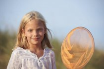 Portrait of girl with fishing net — Photo de stock