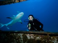 Scuba diver with shark. — Stock Photo