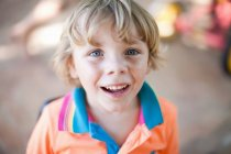 Close up of boy with smiling face — Stock Photo