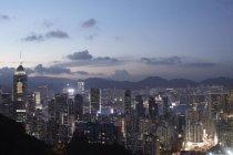 Hong kong city in der Abenddämmerung — Stockfoto