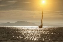 Yacht sailing on Lake Maggiore — Stock Photo
