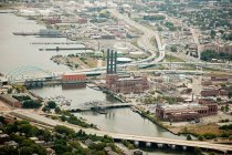 Industrial buildings and bridges — Stock Photo