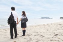 Young couple holding hands on beach, rear view — Stock Photo