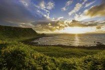 Grüne Küste mit wolkenverhangenem Himmel — Stockfoto