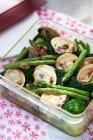 Fresh Japanese cuisine with asparagus — Stock Photo